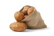 Burlap sack of potatoes.