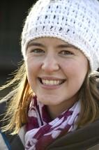 woman in a knit hat