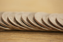 a row of quarters
