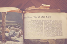 """Antique picture Bible open to """"The Risen Life of Our Lord."""""""