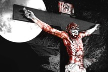 Drawing of blood-covered Jesus on the cross with the moon.