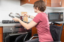 disabled woman cooking