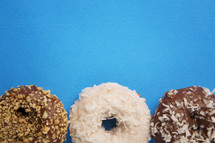 donuts on blue background.