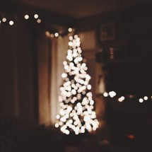 Lights on a Christmas tree in a living room