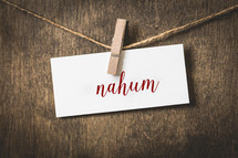 word Nahum hanging on a clothesline