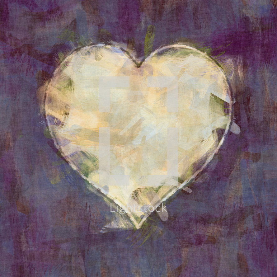 smudge heart on purple