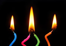 melting wax on colorful birthday candles