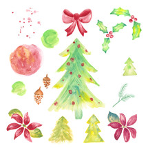 Christmas water color holiday pack with holly, poinsettias, pine cones, trees, brush texture, splatters and a bow ribbon.