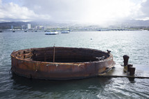 Remains of the U.S.S. Arizona in Pearl Harbor, Hawaii