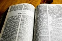 Open Bible in book of Daniel