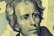 A close up of Andrew Jackson on the twenty dollar bill