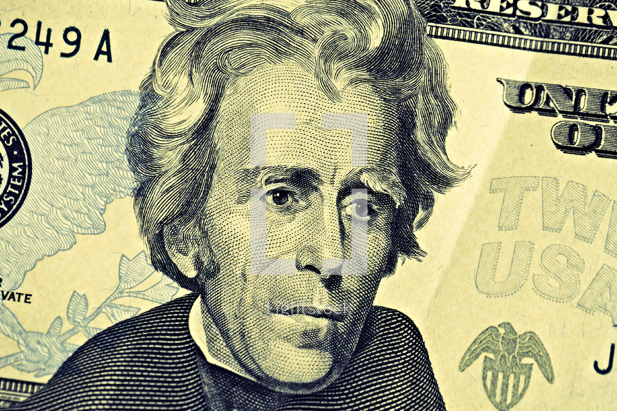 A closeup of a twenty dollar bill and Andrew Jackson