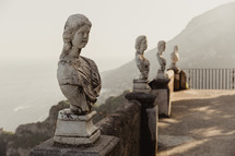 busts along a railing in Italy