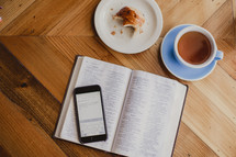 app, Bible study, study notes, Bible, pages, coffee cup, pastry, danish, plate