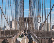 pedestrians on the Brooklyn bridge