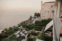 wedding reception in a back yard in Italy