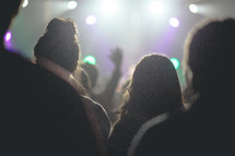 Silhouette of a concert audience.