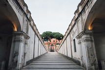 sloping walkway to a building in Rome