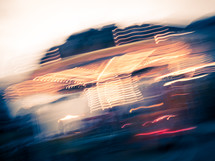 blur of lights from a moving merry-go-round