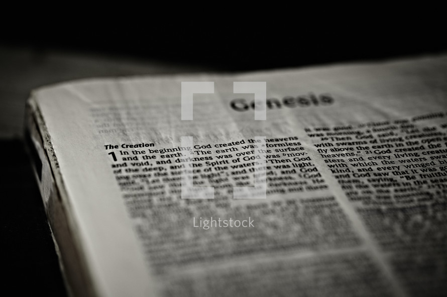 A closeup of the first chapter of the book of Genesis