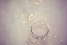 fairy lights in a mason jar
