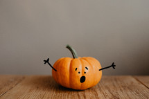 a surprised little pumpkin