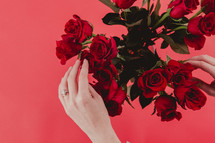A woman's hands touching a bouquet of red roses.