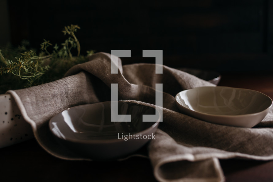 cups and linen napkin