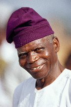 African man in a cloth hat