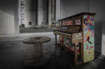 colorful piano outdoors