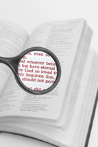 Bible with verse magnified with magnifying glass.