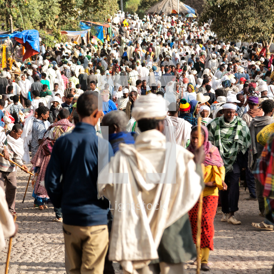 crowds at a celebration in a market in Ethiopia