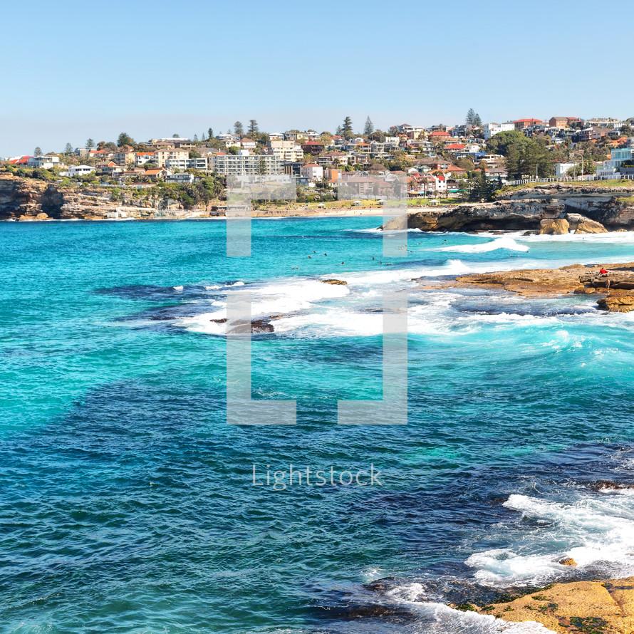 waves washing onto a rocky shore