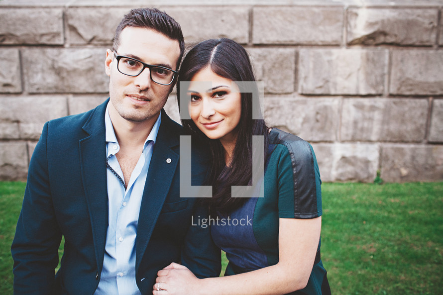 portrait of a couple in dress clothes