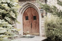 wooden arched church doors