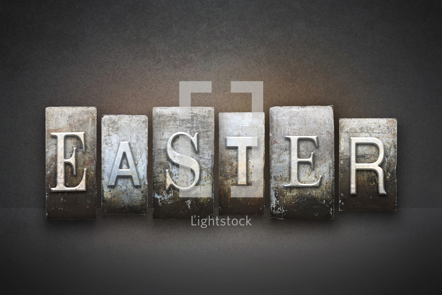 Stone tiles spelling the word EASTER.