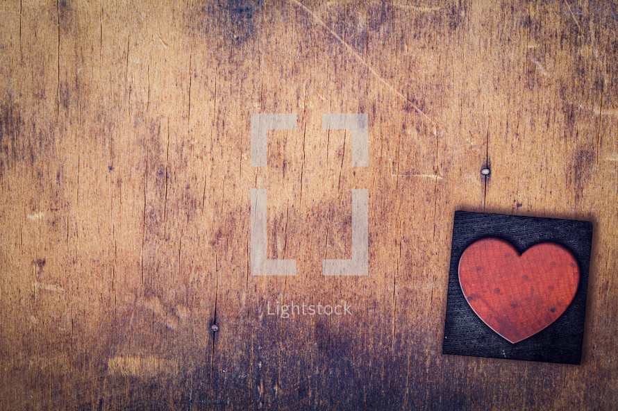 wood stamp heart