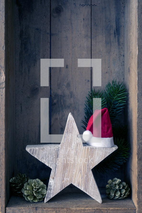 Christmas decorations in a wooden crate