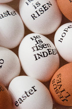 words on Easter eggs