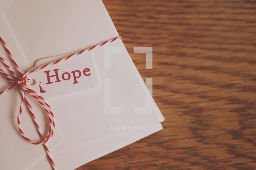 """Hope"" tag on gift"
