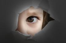 frightened child's eye