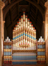Ornate organ pipes.