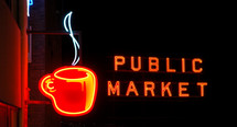 Coffee cup and public market illuminated neon signs.