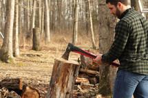 chopping firewood