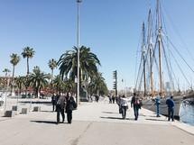 ships in a harbor in Barcelona