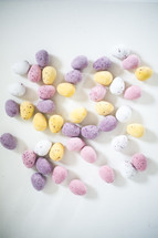candy Easter eggs on a white background