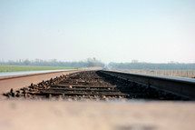 Railroad track through the countryside.