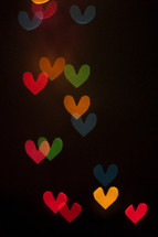 Colorful floating hearts, hearts, love, lights, bokeh, valentine's day, romance