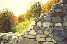 stacked rock wall
