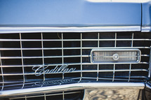 Grill of a Cadillac classic car